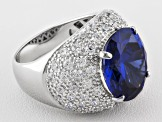 Pre-Owned Blue And White Cubic Zirconia Sterling Silver Cocktail Ring 17.28ctw