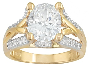 Cubic zirconia 18k yellow gold over silver ring 5.17ctw