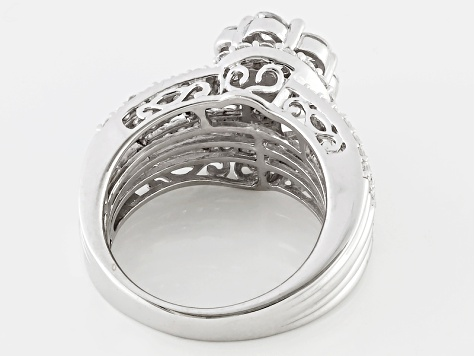 Cubic zirconia silver ring 3.26ctw