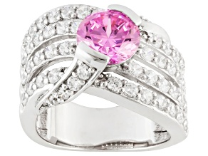 pink and white cubic zirconia sterling silver ring 6.55ctw