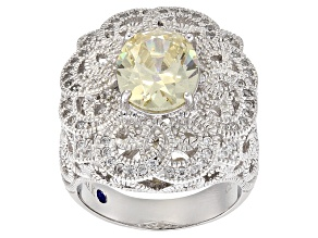 Pre-Owned Yellow And White Cubic Zirconia Platineve Ring 4.82ctw
