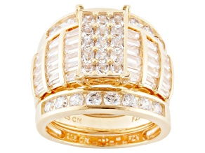 Cubic Zirconia 18k Yellow Gold Over Sterling Silver Ring With Bands 8.42ctw