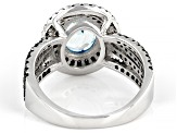 Pre-Owned Blue Aquamarine Sterling Silver Ring 2.80ctw