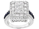 Pre-Owned White And Blue Cubic Zirconia Silver Ring 4.115ctw
