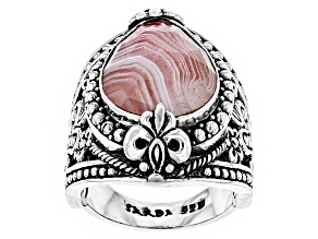 Apricot Banded Agate Sterling Silver Ring