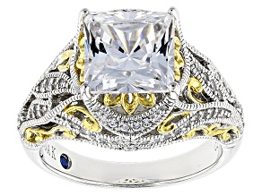 Pre-Owned Cubic Zirconia Platineve And 18k Yellow Gold Over Silver Ring 5.96ctw