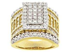 Cubic Zirconia 18k Yellow Gold Over Silver Ring 5.30ctw