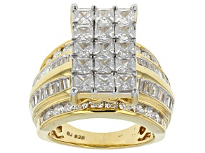 Pre-Owned Cubic Zirconia 18k Yellow Gold Over Silver Ring 8.29ctw