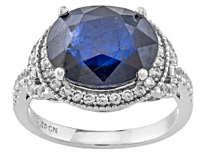 Blue Sapphire Sterling Silver Ring 5.67ctw