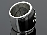 Black Pen Shell Sterling Silver Band Ring