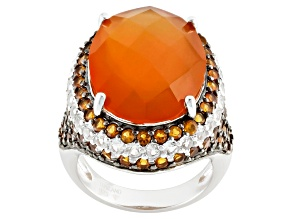 Orange Carnelian Sterling Silver Ring 2.30ctw