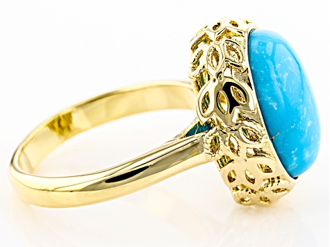 Pre-Owned Blue Turquoise 18k Yellow Gold Over Brass Ring