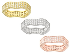 white cubic zirconia 18k yellow/rose gold over silver and rhodium over silver rings 6.91ctw