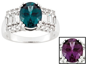 Blue Lab Created Alexandrite Sterling Silver Ring 3.85ctw