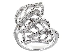Diamond Rhodium Over Sterling Silver Ring .82ctw