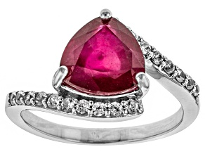 Red ruby sterling silver ring 3.29ctw