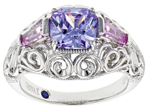 purple cubic zirconia and synthetic sapphire platineve ring 3.08ctw