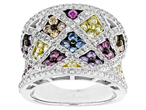 Pre-Owned White/Blue/Brown/Red/Yellow/Purple Cubic Zirconia Rhodium Over Silver Ring 3.98ctw