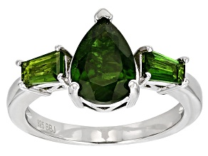 Green Russian Chrome Diopside Sterling Silver Ring 2.68ctw
