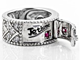 Pre-Owned Lab Created Ruby And White Cubic Zirconia Rhodium Over Silver Ring 1.75ctw