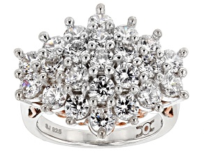 Pre-Owned Cubic Zirconia Silver And 18k Rose Gold Over Silver Ring 6.92ctw