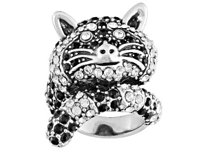 Black Crystal White Crystal Antiqued Silver Tone Raccoon Ring