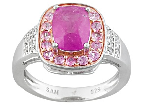 Pink Sapphire Sterling Silver Ring 2.16ctw