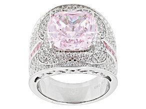 Pre-Owned Pink And White Cubic Zirconia Silver Ring 15.98ctw