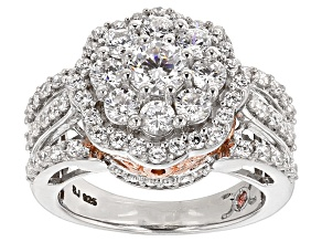 Cubic Zirconia Silver And 18k Rose Gold Over Silver Ring 4.27ctw