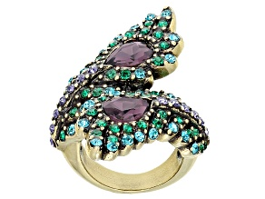Multicolor Crystal Antiqued Gold Tone Feather Ring
