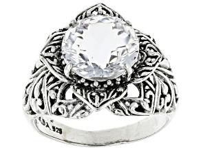 Pre-Owned White Quartz Sterling Silver Flower Ring 5.70ctw