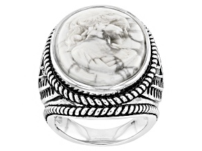 White Magnesite Cameo Sterling Silver Ring