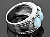 Pre-Owned Blue Larimar Sterling Silver 3-Stone Band Ring