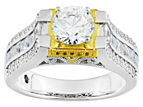 Pre-Owned White Cubic Zirconia Platineve And 18k Yg Over Sterling Silver Ring 3.56ctw