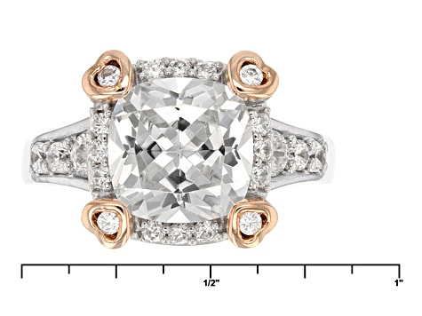 Pre-Owned Cubic Zirconia Silver And 18k Rose Gold Over Silver Ring 3.65ctw
