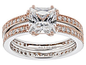 Cubic Zirconia Silver And 18k Rose Gold Over Silver Ring With Band 4.03ctw (2.85ctw DEW)
