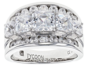 White Cubic Zirzonia Platineve Ring 6.81ctw