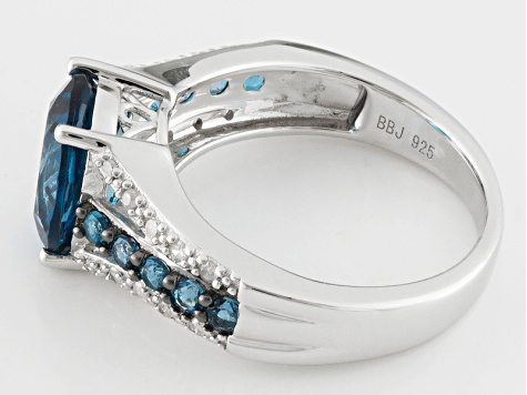 London Blue Topaz Sterling Silver Ring 3.33ctw