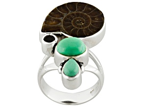 Multicolor Ammonite Sterling Silver Ring .09ct