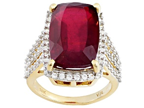 Red Ruby 10k Yellow Gold Ring 10.75ctw