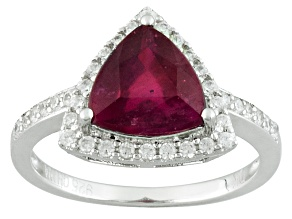 Red Ruby And White Zircon Sterling Silver Ring 3.46ctw