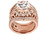 Pre-Owned White Cubic Zirconia 18k Rose Gold Over Sterling Silver Ring 5.30ctw