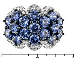Pre-Owned Blue And White Cubic Zirconia Silver Ring 8.20ctw