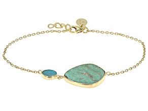 Green Kingman Turquoise 18k Yellow Gold Over Silver Bracelet