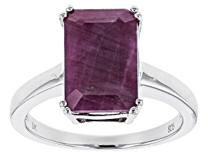 Red india Ruby Sterling Silver Solitaire Ring 4.61ctw