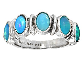 Blue Ethiopian Opal Sterling Silver Ring 1.40ctw