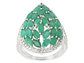Green Emerald Sterling Silver Ring 3.91ctw