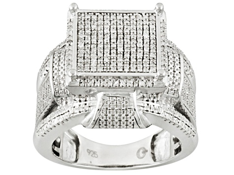 Diamond Rhodium Over Sterling Silver Ring .60ctw