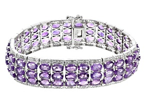 Purple African Amethyst Sterling Silver Bracelet 34.54ctw