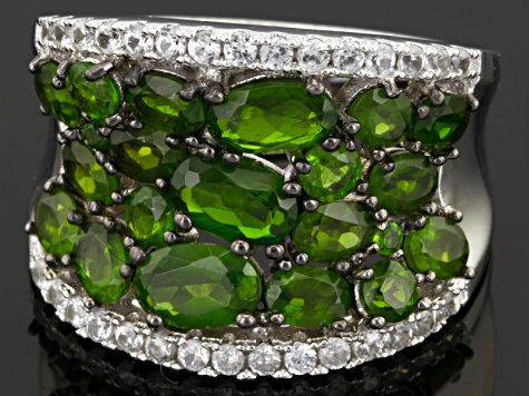 Pre-Owned Green Russian Chrome Diopside Sterling Silver Ring 4.67ctw
